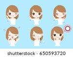 cartoon beauty woman with eye... | Shutterstock .eps vector #650593720
