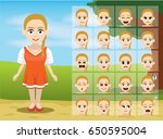 russian folk girl cartoon... | Shutterstock .eps vector #650595004