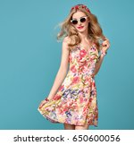 fashionable blond female model  ... | Shutterstock . vector #650600056
