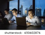 business team working late at... | Shutterstock . vector #650602876