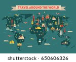 world travel map poster. travel ... | Shutterstock .eps vector #650606326