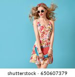 fashionable blond female model  ... | Shutterstock . vector #650607379