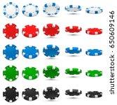 poker chips in different... | Shutterstock .eps vector #650609146