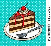 slice of cake on plate pop art... | Shutterstock .eps vector #650617189