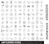100 flower icons set in outline ...   Shutterstock .eps vector #650620243