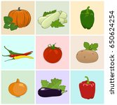 Colored Icons Vegetables ...