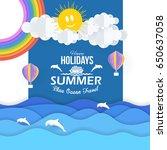 vector paper art style summer... | Shutterstock .eps vector #650637058
