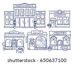 buildings facade front view.... | Shutterstock .eps vector #650637100