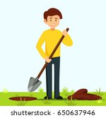 boy holds a shovel. farmer digs ... | Shutterstock .eps vector #650637946