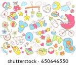 newborn infant themed cute... | Shutterstock .eps vector #650646550