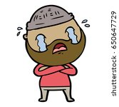 cartoon bearded man crying | Shutterstock .eps vector #650647729