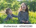 little girl and her toddler... | Shutterstock . vector #650652280