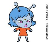 pretty cartoon alien girl | Shutterstock .eps vector #650656180