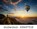 colorful hot air balloon flying ... | Shutterstock . vector #650657518