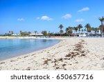sandy beach in cyprus  | Shutterstock . vector #650657716