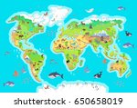 world geographical map with...   Shutterstock . vector #650658019