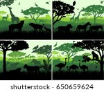 set of Vector illustrations of african savannah safari landscape with wildlife animals silhouettes in sunset design templates | Shutterstock vector #650659624