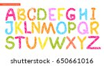 colorful alphabet painted with... | Shutterstock .eps vector #650661016