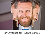 happy face of bearded hipster... | Shutterstock . vector #650663413