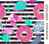 seamless girlish pattern. fancy ... | Shutterstock .eps vector #650672329