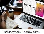 hands working on laptop network ... | Shutterstock . vector #650675398