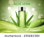 aloe vera soothing gel ad  with ... | Shutterstock .eps vector #650681584