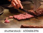 kobe beef steak on hot plate pan | Shutterstock . vector #650686396