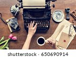 writer table desk with old... | Shutterstock . vector #650690914
