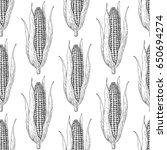 corn cob hand drawn seamless...   Shutterstock . vector #650694274