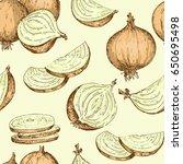 pattern vintage onion. hand... | Shutterstock .eps vector #650695498