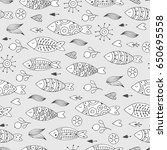 marine seamless pattern with... | Shutterstock .eps vector #650695558