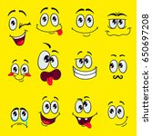 funny cartoon faces with... | Shutterstock .eps vector #650697208