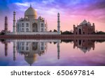 Taj Mahal At Sunset With...
