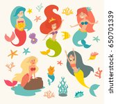 mermaid girls vector... | Shutterstock .eps vector #650701339