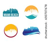 miami beach city landscape logo ...   Shutterstock .eps vector #650707678