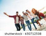 group of young people having... | Shutterstock . vector #650712538
