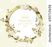 vintage cherry blossom round... | Shutterstock .eps vector #650715658