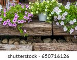 pink and white flowers on wood... | Shutterstock . vector #650716126