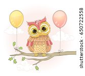 cute owl on a branch and... | Shutterstock . vector #650722558