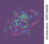 social media colorful linear... | Shutterstock .eps vector #650728600