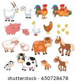 cartoon vector set with farm... | Shutterstock .eps vector #650728678