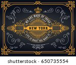old logo with baroque elements | Shutterstock .eps vector #650735554