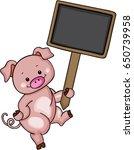 cute pig holding blank wood... | Shutterstock .eps vector #650739958