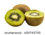 kiwi fruit isolated on white... | Shutterstock . vector #650743750