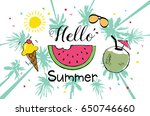 summer hand drawn illustrations ... | Shutterstock .eps vector #650746660
