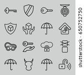 set of 16 protect outline icons ... | Shutterstock .eps vector #650752750