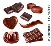 set of piece chopped chocolate... | Shutterstock . vector #650757559