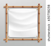 bamboo frame with realistic... | Shutterstock .eps vector #650758258