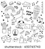 set of cute doodle | Shutterstock .eps vector #650765743