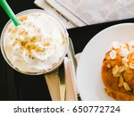 top view of ice coffee with...   Shutterstock . vector #650772724